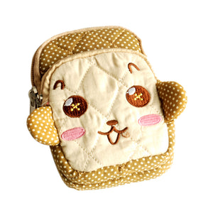 [Lovely Monkey] Embroidered Applique Fabric Art Wallet Purse/ Pouch Bag (2.9x4.7x0.98 inches)
