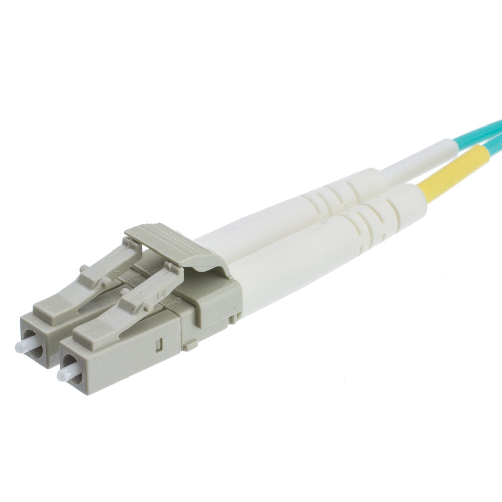 Aqua Blue Fiber Optic Cable, 3 Meter (10 feet) LC to LC Lucent Connector Duplex 50/125 OM3 Multi-Mode Fiber Optic Plenum Rated LC-LC Optical Connection Cable, CableWholesale