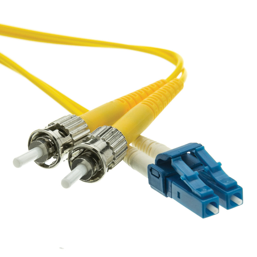 Fiber Optic Cable, 8 Meter (26 feet) LC to ST Lucent Connector to Straight Tip/Bayonet Connector Duplex 9/125 Single-Mode Fiber Optic LC-ST Optical Connection Cable, CableWholesale