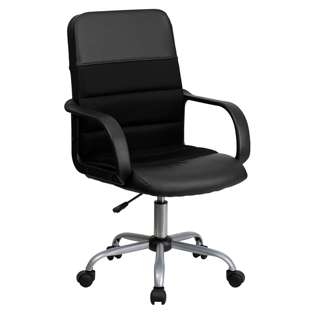 Flash Furniture Mid-Back Black LeatherSoft and Mesh Swivel Task Office Chair with Arms, BIFMA Certified