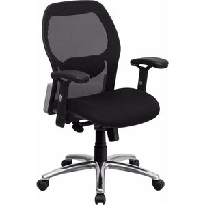 Flash Furniture Mid-Back Super Mesh Office Chair with Black Fabric Seat and Knee Tilt Control [LF-W42-GG]