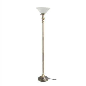Elegant Designs 1 Light Torchiere Floor Lamp with Marbleized White Glass Shade