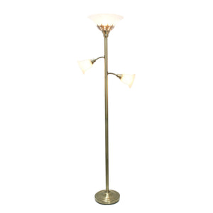 Elegant Designs 3 Light Floor Lamp with Scalloped Glass Shades