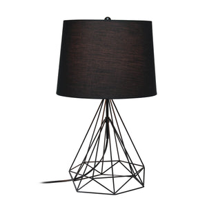 Lalia Home Geometric White Matte Wired Table Lamp with Fabric Shade