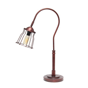 Lalia Home Decorative Rustic Caged Shade Table Lamp, Red Bronze
