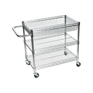 "Luxor LICWT2918 Large Wire Tub Cart with 3 Shelves - 30"" W x 18"" D x 30"" H"