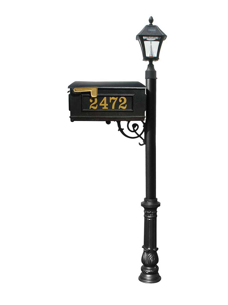 Mailbox w/Post Ornate Base & Solar Lamp, with Vinyl Numbers, Black