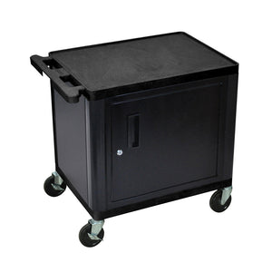"Offex 26""H Plastic Mobile A/V Cart with 2 Shelves and Cabinet - Black"