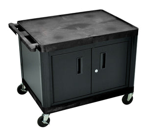 "LP27C-B - 27"" H A/V Multipurpose Utility Cart with Two Large Shelves, Cabinet"