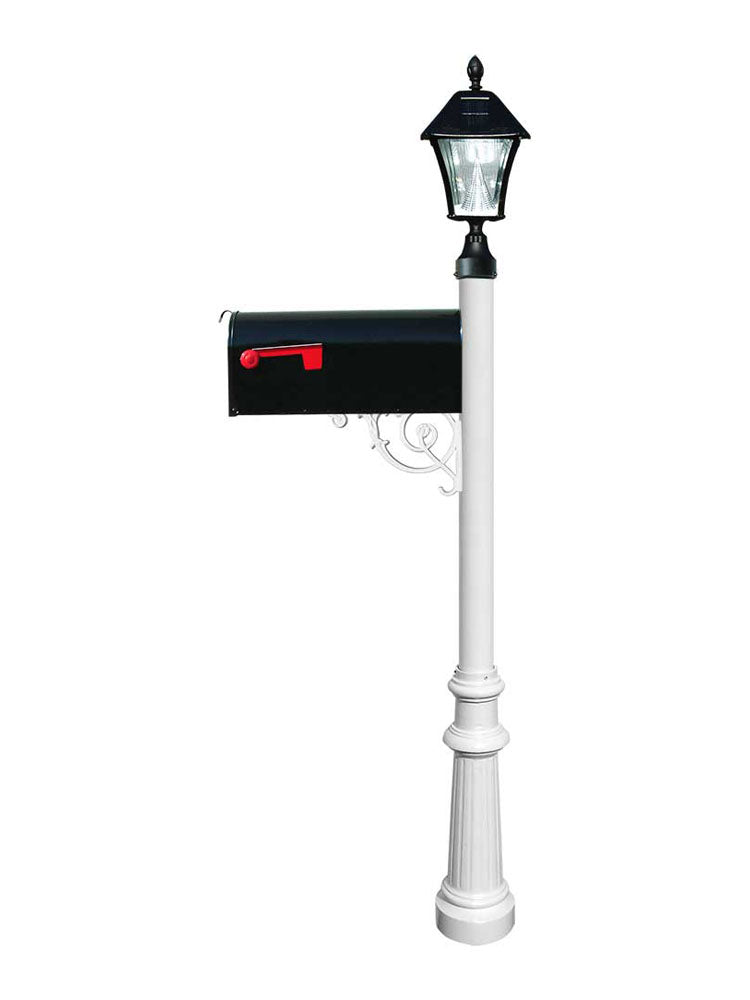 Lewiston E1 Economy Mailbox, Post Fluted Base & Solar Lamp, White