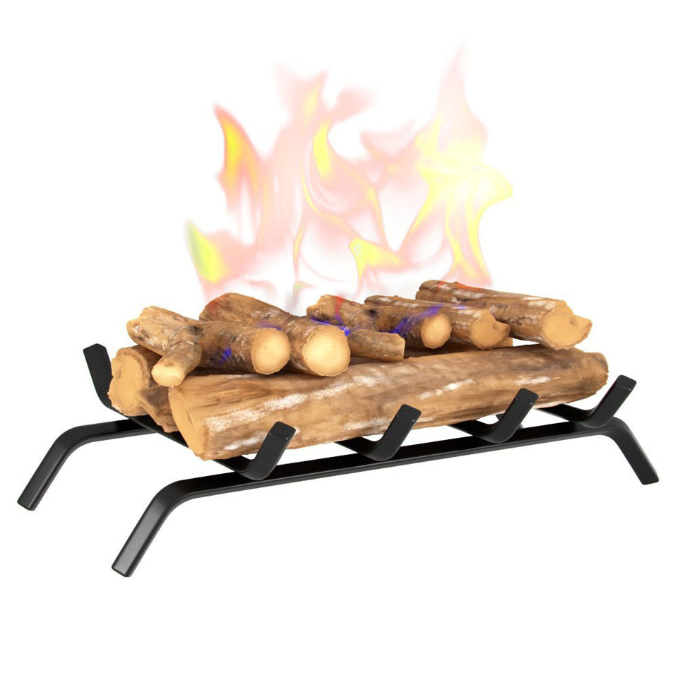 "Black Wrought Iron Fireplace Log Grate 18"" Wide Heavy Duty Solid Steel Indoor Chimney Hearth Bar Fire Grates for Outdoor Fire Place Kindling Tools Pit Wood Stove Firewood Burning Rack Holder"