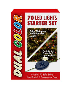 70 Bulb Dual Boxed Light- Low Voltage LED Lights Starter Set- 9 Function Footswitch and Transformer