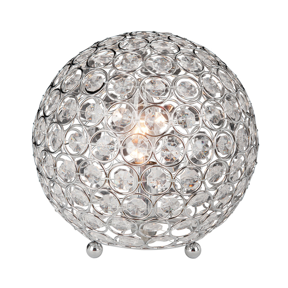 Elegant Designs LT1026-CHR Crystal Ball Table Lamp, Chrome