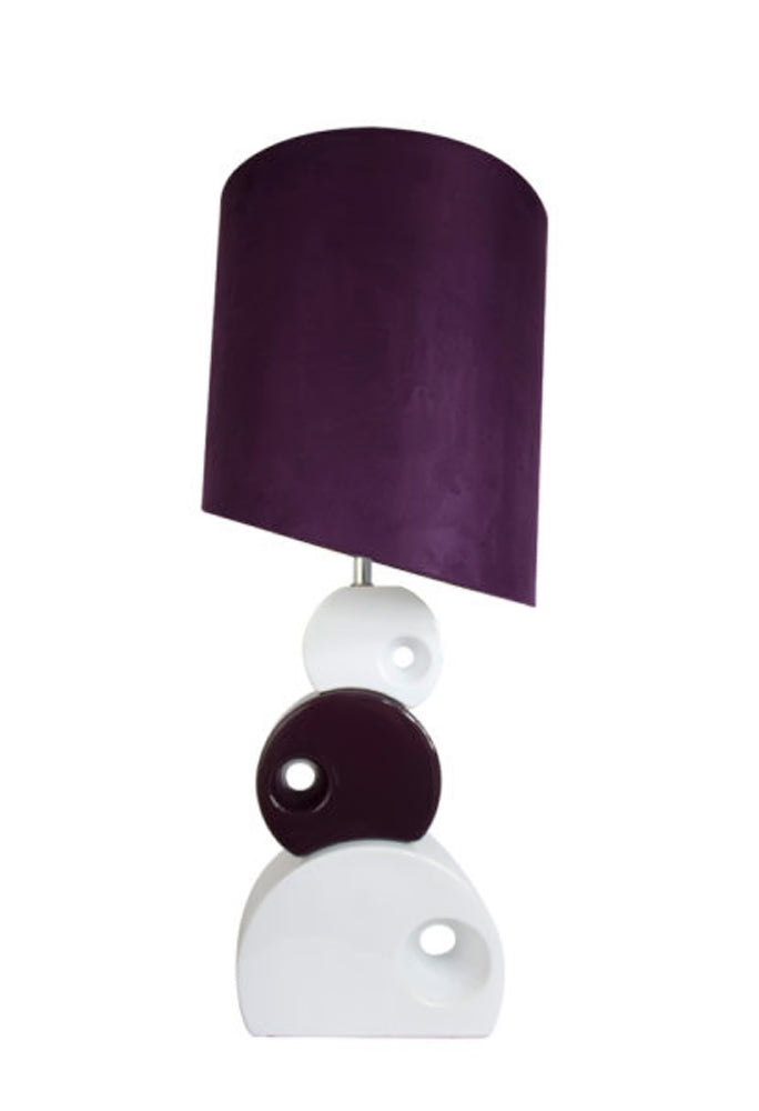 Elegant Designs LT1038-PRP Stacked Circle Ceramic Table Lamp with Asymmetrical Shade, Purple, 30.31