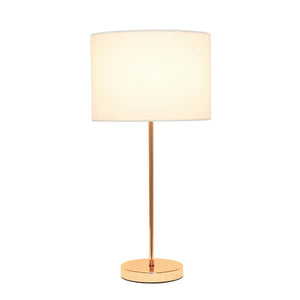 Simple Designs Stick Lamp with White Fabric Shade