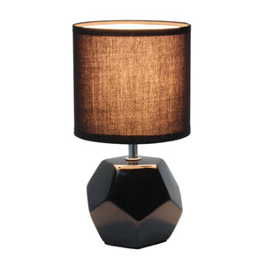 Simple Designs Round Prism Mini Table Lamp with Matching Fabric Shade, White