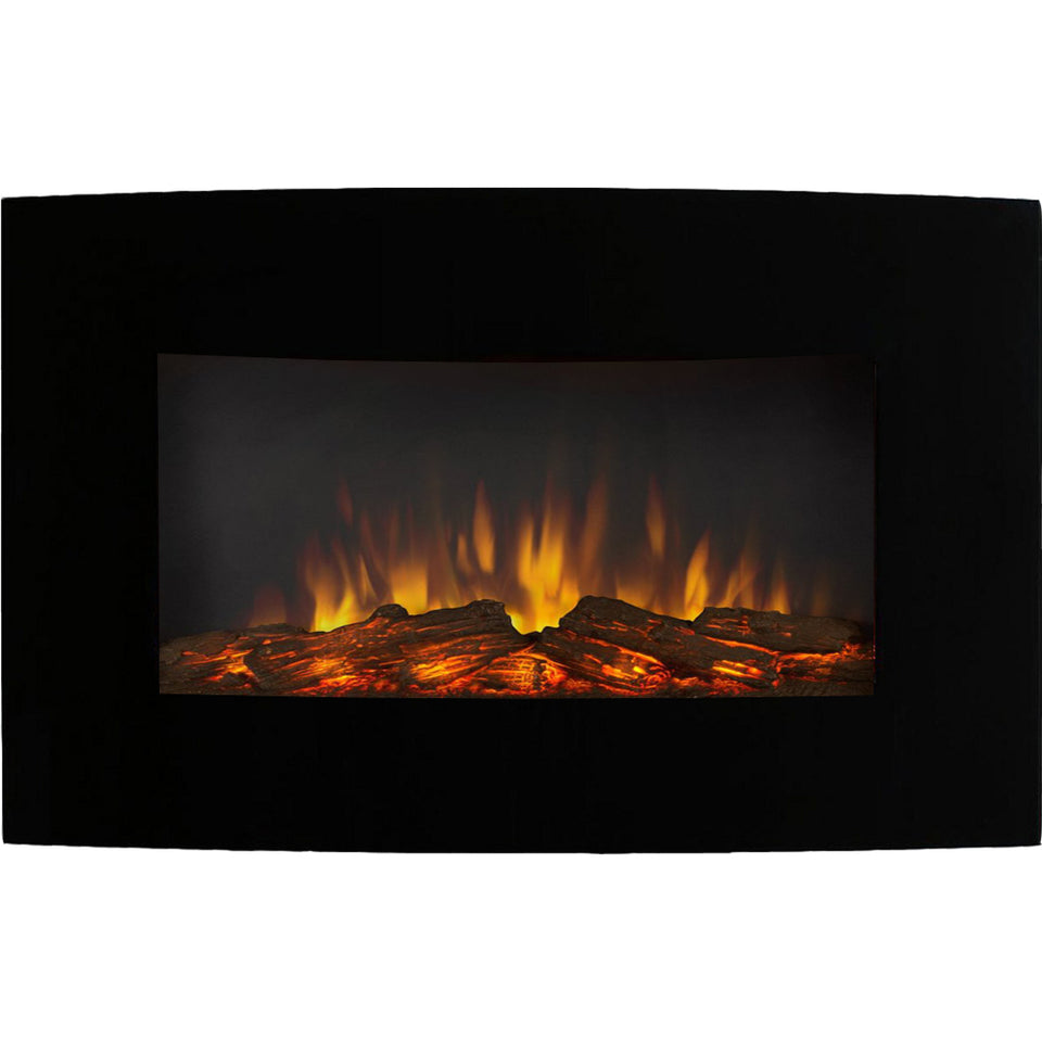 "Broadway 35"" Ventless Heater Electric Wall Mounted Fireplace - Log"