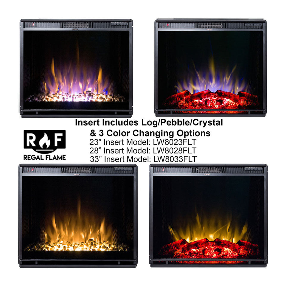 Gibson Living 33 Inch LED Ventless Electric Space Heater Built-in Recessed Firebox Fireplace Insert