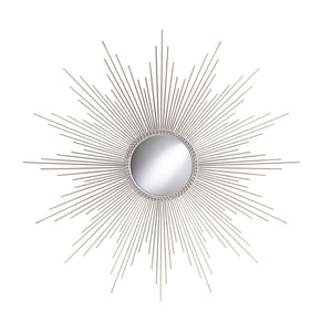 "TX USA Corporation 32"" Metal and Steel Sunburst Wall Mirror - Silver"