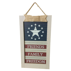 "Friends Family Freedom Sign - 11"" x 21"""