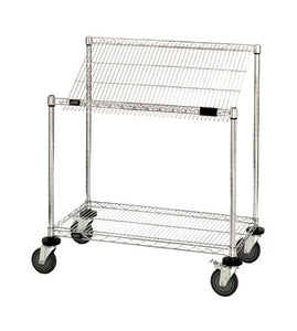 "Quantum Mobile 24"" W x 48"" L x 40"" H, 2 Tier Wire Shelves Work Station Cart"