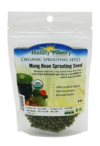Mung Bean Sprouting Seed: 4 Oz - Organic, Non-GMO - Handy Pantry Brand - Dried Mung Beans for Sprouts, Garden Planting, Chinese & Asian Cooking, Soup & More