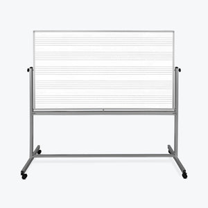 "Luxor 72""W x 48""H Mobile Double Sided Music Whiteboard - 1 Pack"