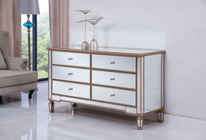Elegant Decor 6 Drawers Cabinet 60 in. x 20 in. x 34 in. in Gold Paint