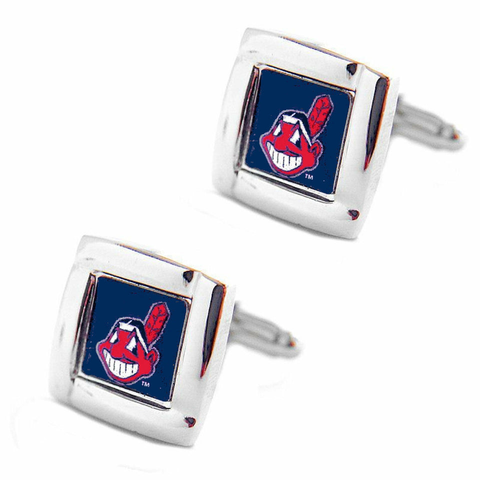 MLB Cleveland Indians Square Cufflinks with Square Shape Logo Design Gift Box Set