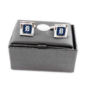 MLB Detroit Tigers Square Cufflinks with Square Shape Logo Design Gift Box Set