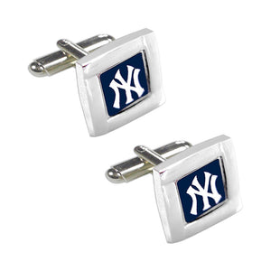 MLB NY New York Yankees Square Cufflinks with Square Shape Logo Design Gift Box Set