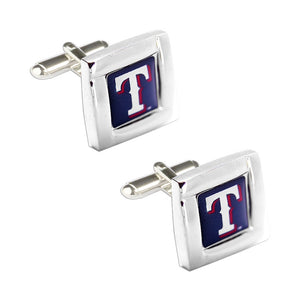 MLB Texas Rangers Sports Team Square Shaped Logo Mens Cufflinks with Case