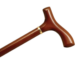 AlexOrthopedic Wood Cane With Fritz Handle and Collar - Brown Stain - MP-05010