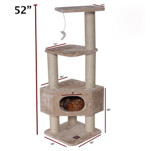 "Majestic Pet 52"" Wood Casita Fur Tree for Cats"