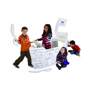 "My Very Own House Cardboard Coloring Playhouse Pirate Ship, 49"" H x 36"" L x 55"" W"