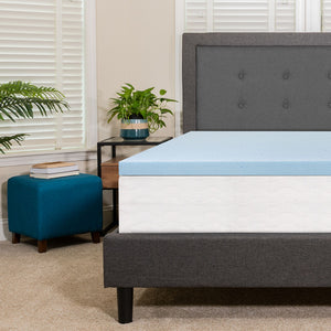 "Flash Furniture Capri Comfortable Sleep 2"" Hypoallergenic Cool Gel Memory Foam Mattress Topper, Blue - King"