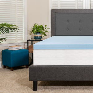 "Flash Furniture Capri Comfortable Sleep 3"" Hypoallergenic Cool Gel Memory Foam Mattress Topper, Blue - Queen"