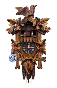 "Engstler MT401H Weight-Driven Cuckoo Clock-Full Size-14.5"" H x 9.75"" W x 6.5"" D, Brown"