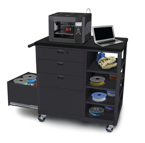 Marvel Steel 3D Printer Cart with Three Storage Drawers and Four Side Shelves