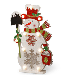 National Tree 17 Inch Wood Look Double Sided Snowman Holding a Shovel with 10 Warm White Battery Operated LED Lights (MZC-1325)