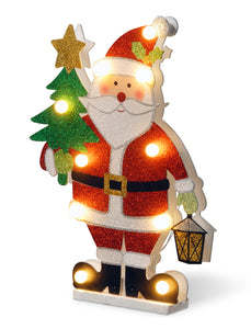 National Tree 17 Inch Wood Look Double Sided Santa Holding a Tree with 10 Warm White Battery Operated LED Lights (MZC-1326)
