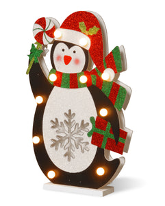 National Tree 17 Inch Wood Look Double Sided Penguin Holding a Lollypop with 10 Warm white Battery Operated LED Lights (MZC-1327)