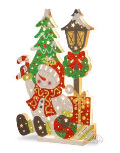"National Tree MZC-1518 Pre-Lit 17.5"" Wooden Snowman Scene"