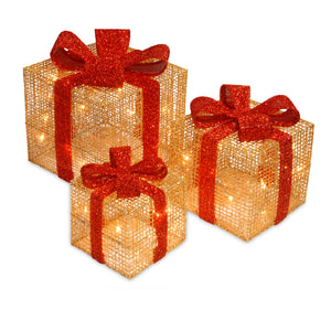 National Tree Set of 3 Gold Thread Giftbox with Holly & 35 Clear Indoor/Outdoor Lights (MZC-188)