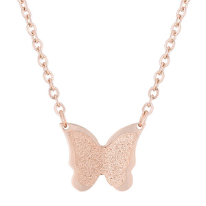 J Goodin Women Fashion Jewelry Breanne Rose Gold Stainless Steel Rose Gold Butterfly Necklace