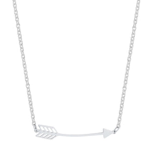 J Goodin Women Fashion Jewelry Arianna Rhodium Stainless Steel Arrow Necklace