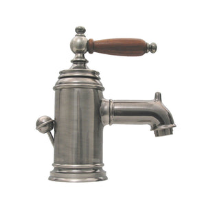 Fountainhaus Single Hole/Single Lever Lavatory Faucet with Cherry Wood Handle and Pop-up Waste