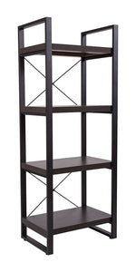 "Flash Furniture Thompson Collection 4 Shelf 62""H Etagere Bookcase in Charcoal Wood Grain Finish"