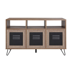 Woodridge Collection Rustic Wood Grain Finish Console and Storage Cabinet with Metal Doors