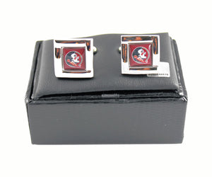NCAA Florida State SemiNoles Square Cufflinks with Square Shape Logo Design Gift Box Set